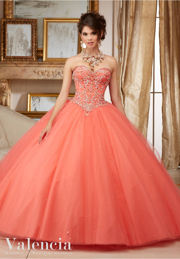 9e889d7215c Quinceanera Dress 60007 GEMSTONE BEADING ON A TULLE BALL GOWN