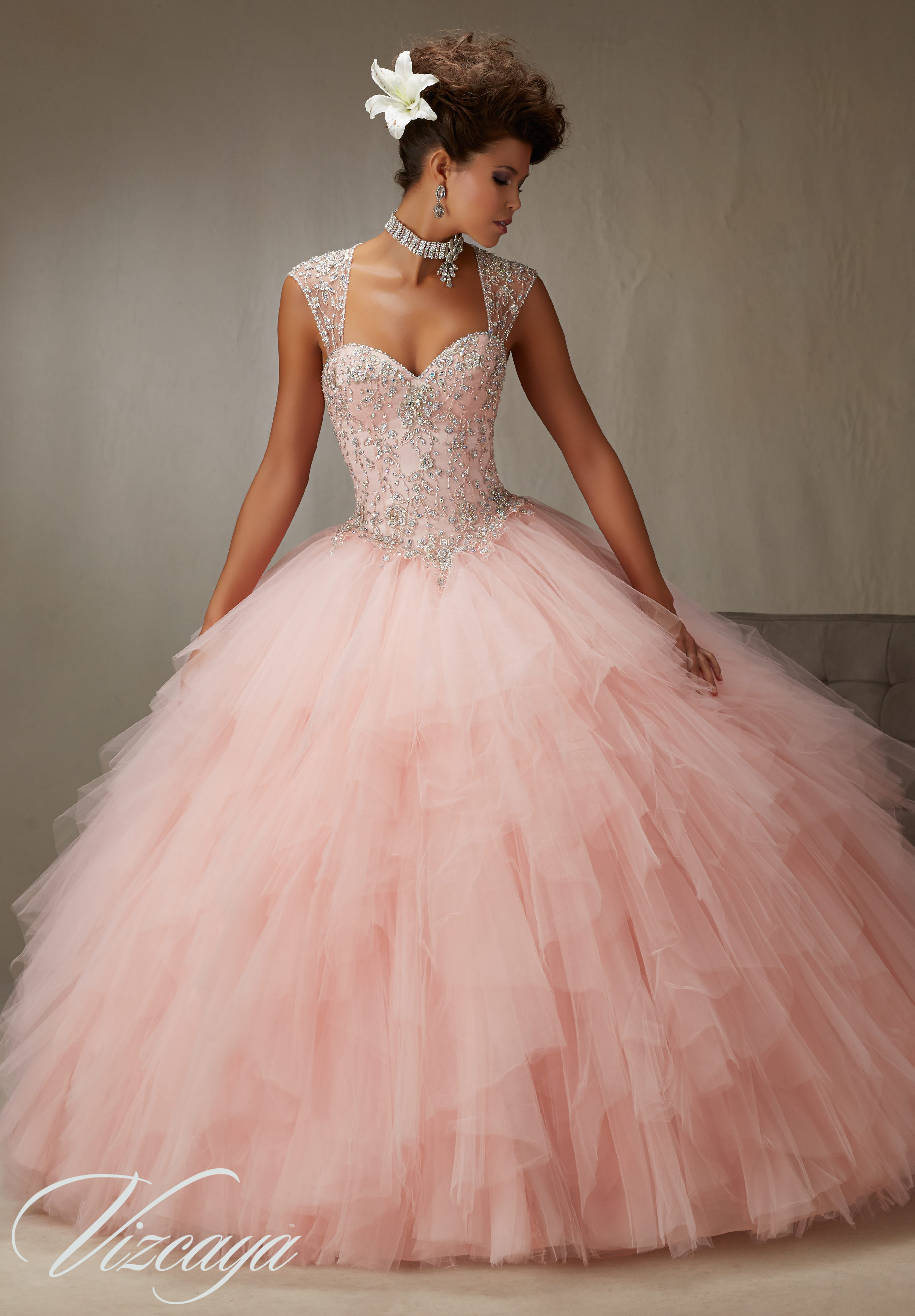 ed54f137004 Quinceanera Dress 89066 EMBROIDERY AND BEADING ON A RUFFLED TULLE SKIRT