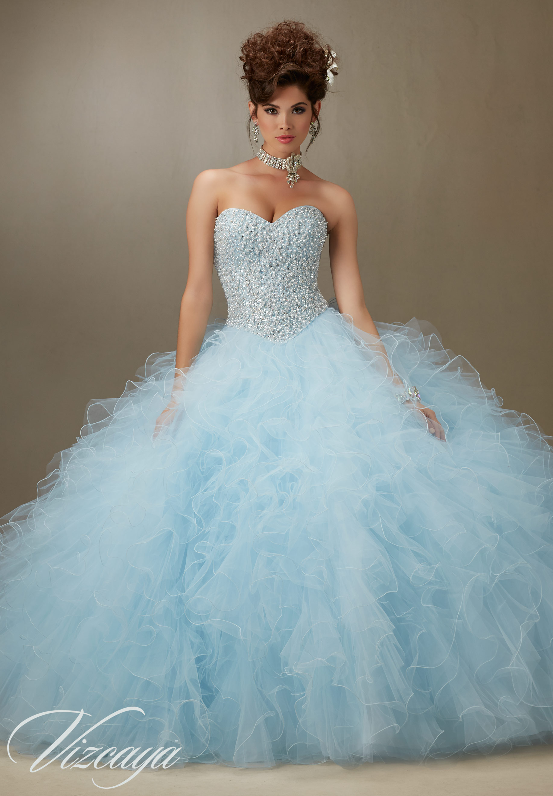 3f84481a5 Quinceanera Dress 89077 PEARL BEADED BODICE ON A RUFFLED TULLE BALL GOWN