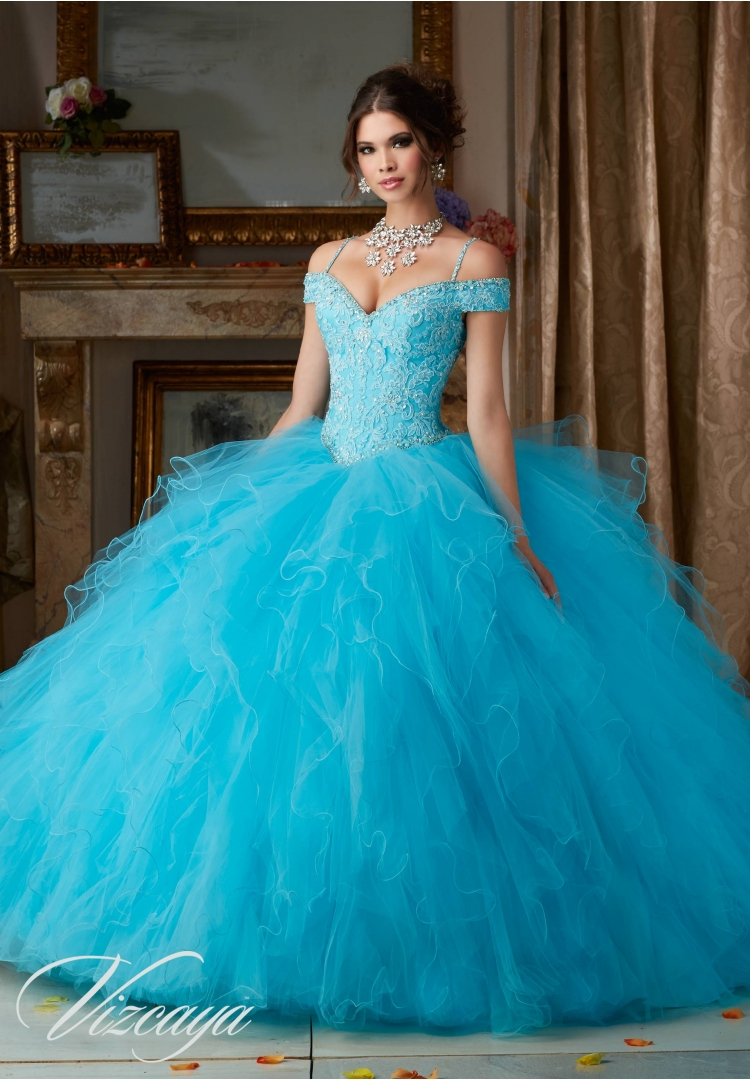 c327fff0b78 Quinceanera Dress 89102 BEADED LACE ON A RUFFLED TULLE BALL GOWN