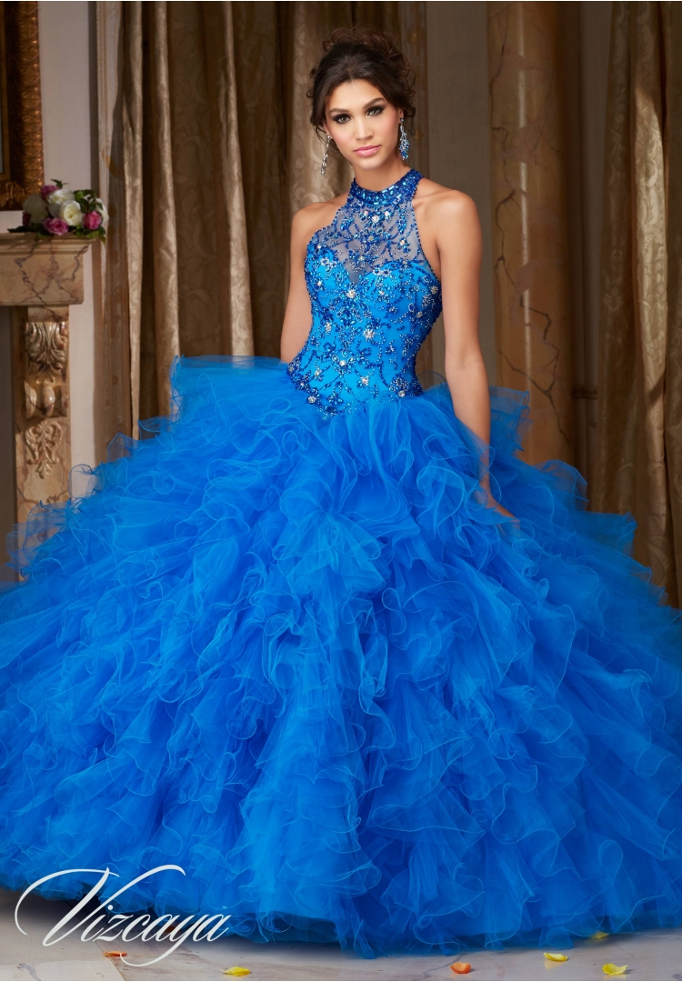 f48d2c5b2ba Quinceanera Dress 89103 JEWELED BEADING ON A RUFFLED TULLE BALL GOWN