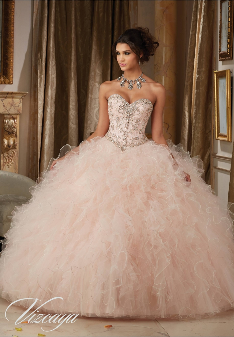 5daf36dac6 Quinceanera Dress 89113 DAZZLING BEADED BODICE ON A RUFFLED TULLE BALL GOWN