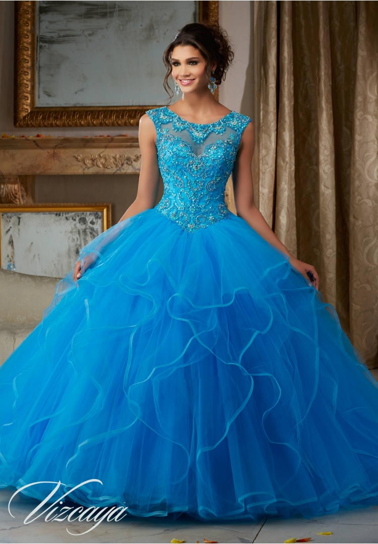 0d179865785 Quinceanera Dress 89116 PEARL AND CRYSTAL BEADING ON FLOUNCED TULLE BALL  GOWN