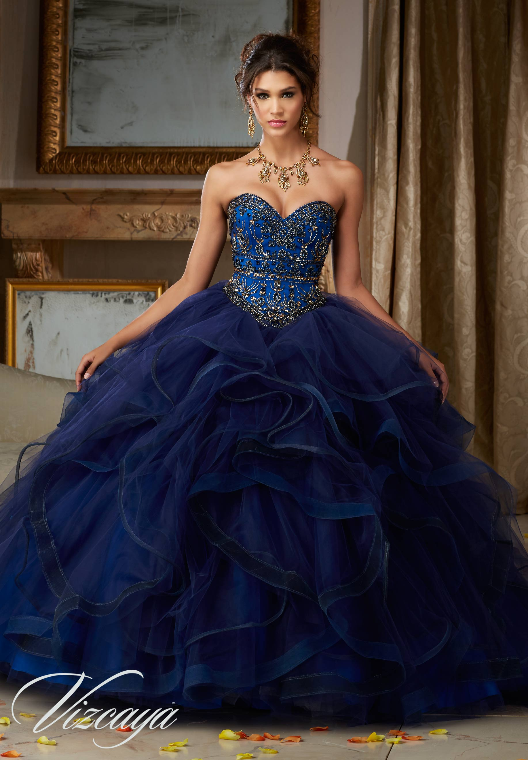 a01564c1e8 Quinceanera Dress 89118 JEWELED BEADING ON FLOUNCED TULLE BALL GOWN